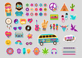Fototapety Hippie, bohemian design with icons set, stickers, pins, art fashion chic patches and badges