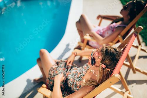 Female friends enjoying summer vacation