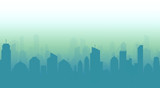 Fototapety Cityscape and skyline vector illustration with blue urban buildings and silhouette.
