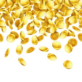 Gold falling 3d coins on white background, rain of coins horizontally seamless illustration