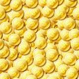 Top view of gold 3d coins, seamless pattern
