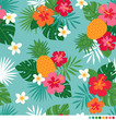 Pineapple, hibiscus, frangipani and leaf seamless pattern vector - 140643485