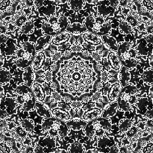 Stylized flowers oriental wallpaper retro seamless abstract background vector, decoration tile print oriental tribal floral ornament, arabesque floral pattern tile. Black and white, One color print - 140649287