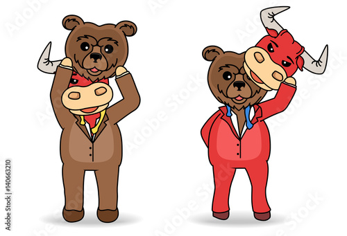 Disguised Bear and bull mask under rival his shirt. Stock market concept.
