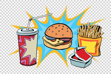 Fast food set Burger fries drink and sauce