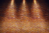 Empty grungy room with red brick wall and three spotlight rays. 3d rendering