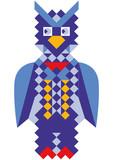 Mosaic style colorful owl illustration