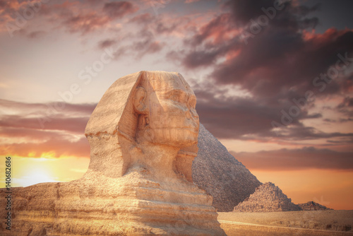 Poster pyramids of Giza, in Egypt.