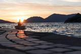 Sunset in Tellaro with fisherman