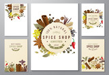 backgrounds with paper emblems and spices - 140686686