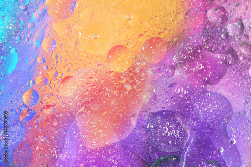 Naklejka na szybę Colorful Background with Bubbles in Purple Orange and Blue