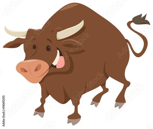 cute bull farm animal character