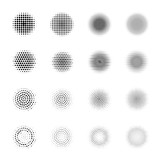 Set of Halftone circles isolated on white background.Collection of halftone effect dot patterns.Sphere illustration.