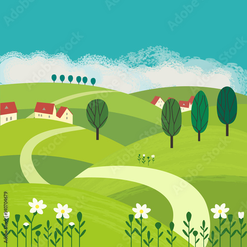 Aluminium Boerderij Green landscape. Freehand drawn cartoon outdoors style. Farm houses, country winding road on meadows, fields. Rural community. Sunny day, blue sky, hills. Vector village countryside scene background