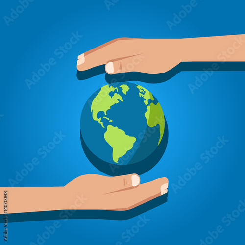 Earth holding. Vector, isolated.