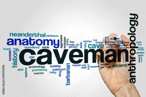 Poster Caveman word cloud concept on grey background