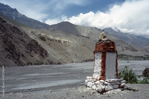 Buddhist stupa near Kagbeni village in Upper Mustang, Nepal.  Poster