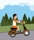 Ride design over landscape background, vector illustration