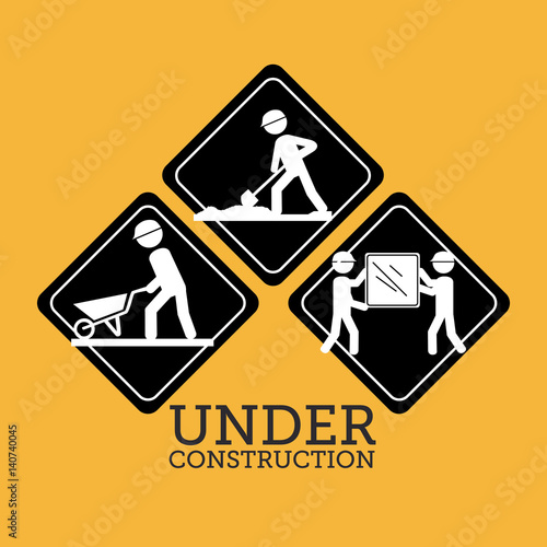 Construction design over yellow background, vector illustration