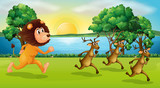 Lion and deers running in the park