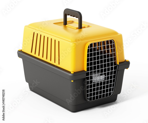 Pet carrier isolated on white background. 3D illustration