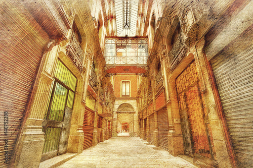 Poster alley in Barcelona. Spain. Picture in atistic retro stle.