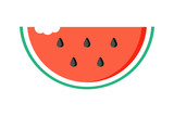 Flat design watermelon slice with bite mark isolated on white background. - 140753492