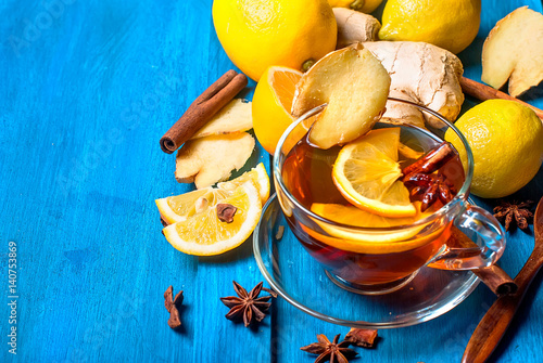 Cup of Ginger tea with lemon and honey on dark blue background, Poster
