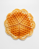 Fototapety Belgian heart shaped waffle on white background