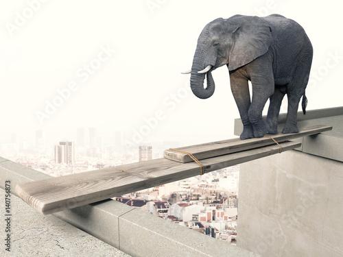 Poster brave elephant concept