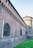 Sforza Castle, medieval architecture in Milan, Italy