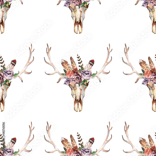 Watercolor boho skull Boho watercolor seamless pattern with feathers, flowers - 140761016
