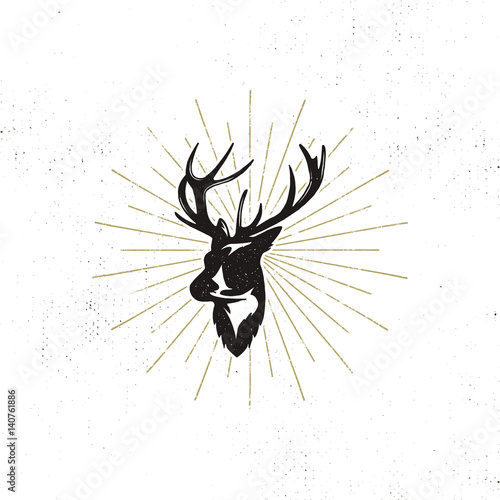Aluminium Hipster Hert Hand drawn deer's head label. Vintage black vector silhouette of Deer head with antlers, sunbursts isolated on white background. Wild animal shape design. Stamp Illustration