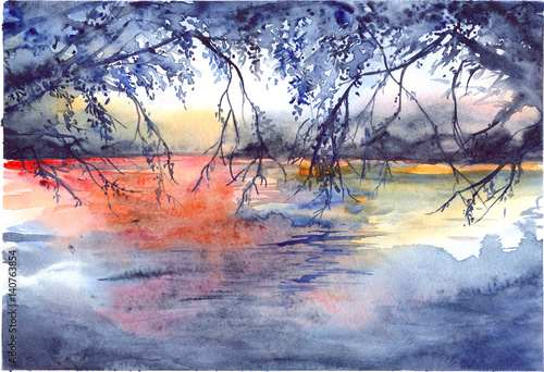 Watercolor evening sunset tree branches river lake landscape - 140763854