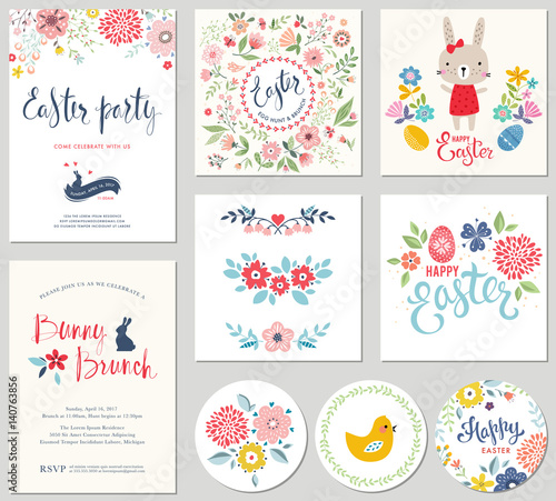 Happy Easter templates with eggs, flowers, floral wreath and branches, rabbit, chick and typographic design. Good for spring and Easter greeting cards and invitations. - 140763856