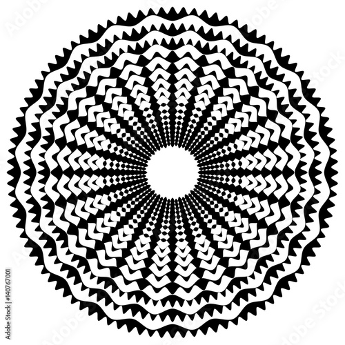 Radiating / radial abstract circular geometric element. Abstract black and white shape - 140767001