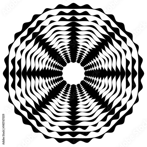 Radiating / radial abstract circular geometric element. Abstract black and white shape - 140767039