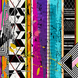 abstract geometric background, with stripes, paint strokes and splashes