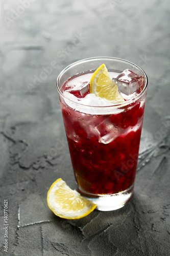 Red currant cocktail with lemon and honey Poster