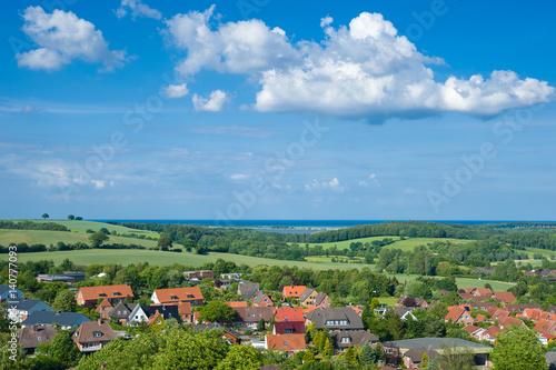 Plakat Blick vom Bismarckturm in Lütjenburg mit Ostsee im Hintergrund