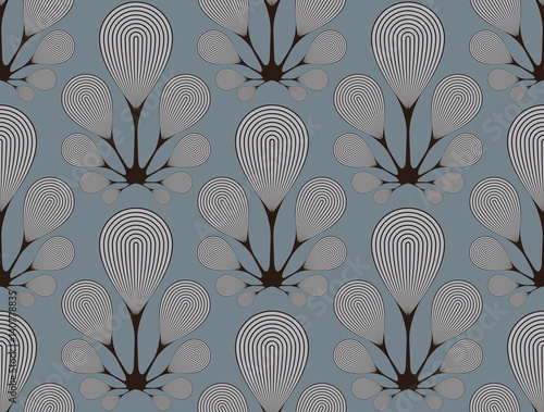 bulb flowers seamless pattern in silver shades - 140778835