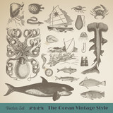 Vector set: Animals of the Ocean - Vintage Nautical Design Elements. Perfect for branding, restaurants, websites, menus, editorial and illustration work.
