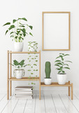 Vertical poster mock up in nordic style with wooden frame and green plants on stellage. 3d rendering. - 140786270