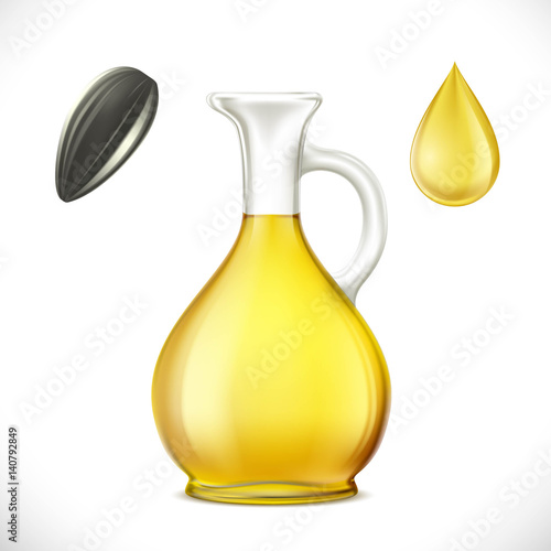Glass jug with sunflower oil. Isolated on white background.