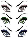 Cartoon Female Eyes Set