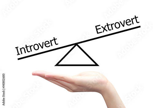 Poster hand with introvert and extrovert  concept