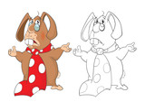 Illustration of a Cute Rabbit Teacher. Cartoon Character. Coloring Book