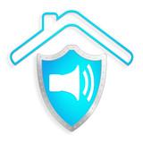 isolation phonique bâtiment sur bouclier bleu - 140806887
