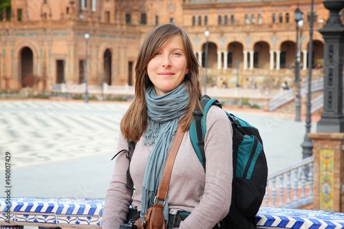 Female backpacker in Seville, Spain