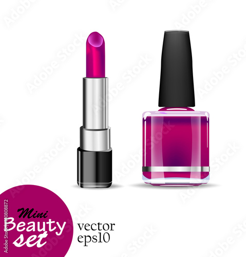 Realistic cosmetic products. One tube lipstick and one bottle nail polish are saturated purple color isolated on a white background. Vector illustrations mini beauty set.